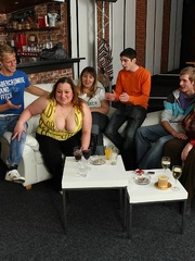 Plumper at the party is fucked and so are her fat - Picture 4