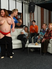 Plumper at the party is fucked and so are her fat - Picture 6