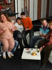 Plumper at the party is fucked and so are her fat - Picture 7