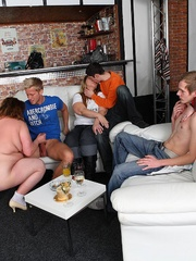 Plumper at the party is fucked and so are her fat - Picture 8
