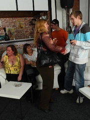 The orgy in the bar features drunken fatties sucking - Picture 5
