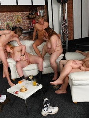 The orgy in the bar features drunken fatties sucking - Picture 16