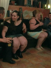 Horny BBW babes are in the bar having sex and sucking - Picture 1