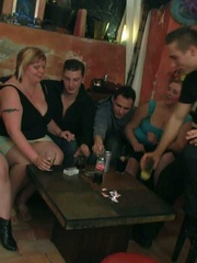 Horny BBW babes are in the bar having sex and sucking - Picture 2