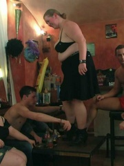 Horny BBW babes are in the bar having sex and sucking - Picture 7