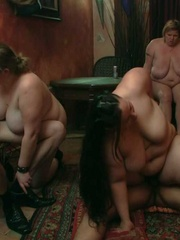 BBW party babes get drunk at the bar and have an orgy - Picture 16