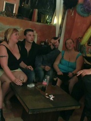 The fatties are half-naked in the bar and sucking cock - Picture 4