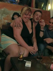 The fatties are half-naked in the bar and sucking cock - Picture 6
