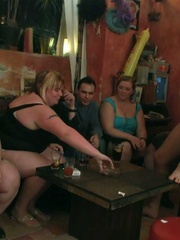 The fatties are half-naked in the bar and sucking cock - Picture 7