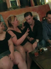 The fatties are half-naked in the bar and sucking cock - Picture 8
