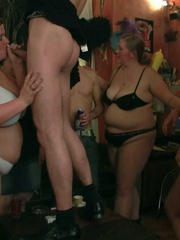 The fatties are half-naked in the bar and sucking cock - Picture 12