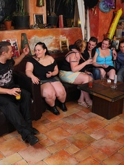 The BBW group sex goes on around them as the hot chick - Picture 1