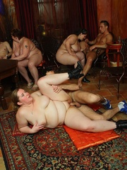 The plumper is on top of her man in the orgy and she - Picture 8