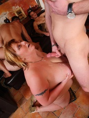 The BBW orgy in the bar features a hot fatty with jiggly - Picture 15