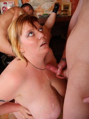 The BBW orgy in the bar features a hot fatty with jiggly - Picture 16