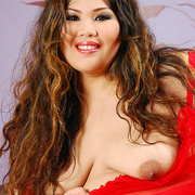 Asian BBW Cassie in red lingerie - Picture 8