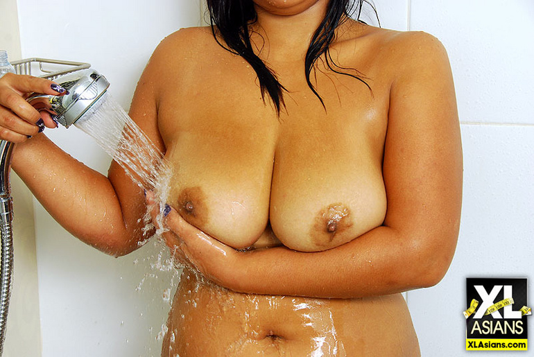 Busty Asian Bam naked in the shower - Picture 10