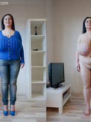 Seductive brunette mature presents her unbelievable huge - Picture 1