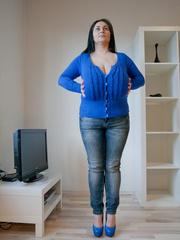 Seductive brunette mature presents her unbelievable huge - Picture 10