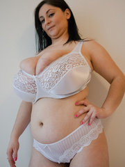 Dirty brunette bitch in a white lace lingerie with mega - Picture 4