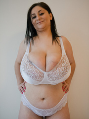 Dirty brunette bitch in a white lace lingerie with mega - Picture 5