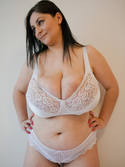 Dirty brunette bitch in a white lace lingerie with mega - Picture 6