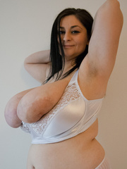 Dirty brunette bitch in a white lace lingerie with mega - Picture 9