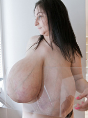 Brunette mature slut with macromastia posing topless - Picture 5