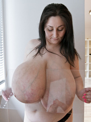 Brunette mature slut with macromastia posing topless - Picture 8