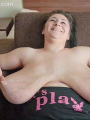 Sexy gipsy in a funny T-shirt biting one of her mega - Picture 15