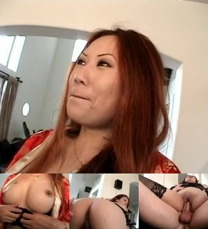 Ginger Asian bitch in stockings riding a stiff dick passionately on cam - XXXonXXX - Pic 4
