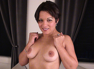 Sexy brunette babe gets mouthful of cum after hot blowjob - XXXonXXX - Pic 3