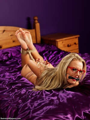 Nude blonde in glasses with mouth restra - XXX Dessert - Picture 1