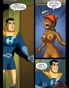 Ebony babe gives head to a superhero