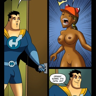 Ebony babe gives head to a superhero - Cartoon Sex - Picture 1