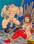Kinky dudes torturing brunette whore