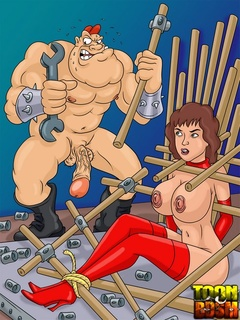 Kinky dudes torturing brunette whore - Cartoon Sex - Picture 1