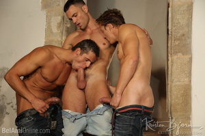 Wild Guys Sucking Their Big Dicks And Fucking Each Other In A Threesome. - XXXonXXX - Pic 5