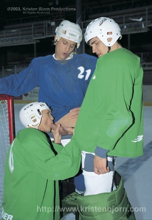 Hot Threesome With Gay Hockey Players Sucking Each Other Off And Fucking With Each Other. - XXXonXXX - Pic 2