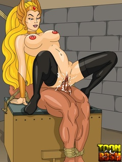 Muscular He-Man binds Sorceress and pounds - Cartoon Sex - Picture 1
