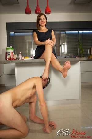 Ginger mistress in red high heels adores foot worship - XXXonXXX - Pic 1