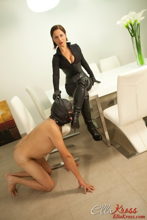 Masked naked dude getting humiliated and jeered by hot mistress in leather suit - XXXonXXX - Pic 3