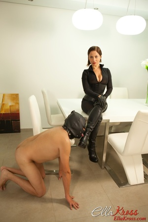 Masked naked dude getting humiliated and jeered by hot mistress in leather suit - XXXonXXX - Pic 4