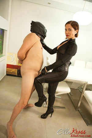 Masked naked dude getting humiliated and jeered by hot mistress in leather suit - XXXonXXX - Pic 7
