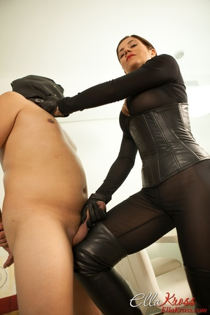 Masked naked dude getting humiliated and jeered by hot mistress in leather suit - XXXonXXX - Pic 8