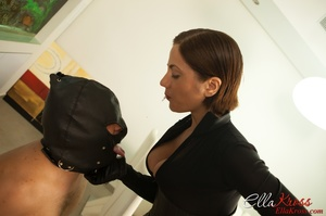 Masked naked dude getting humiliated and jeered by hot mistress in leather suit - XXXonXXX - Pic 10