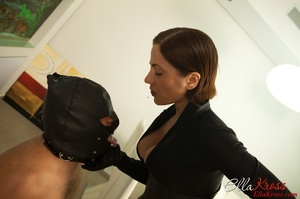 Masked naked dude getting humiliated and jeered by hot mistress in leather suit - XXXonXXX - Pic 11