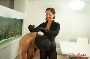 Masked naked dude getting humiliated and jeered by hot mistress in leather suit - XXXonXXX - Pic 12