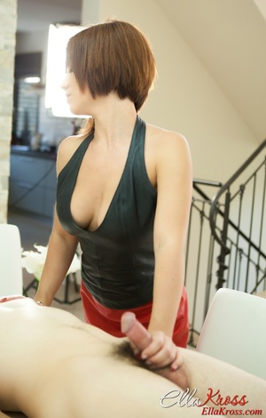Breathtaking mistress in leather close gives a handjob to a masked dude - XXXonXXX - Pic 9