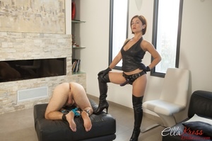Kinky mom in high boots and corset drills dude's butt with a strapon - XXXonXXX - Pic 1